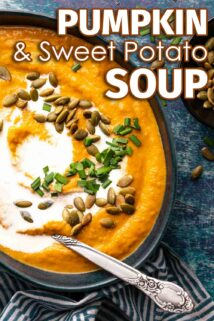 pumpkin and sweet potato soup in blue bowl with text at the top