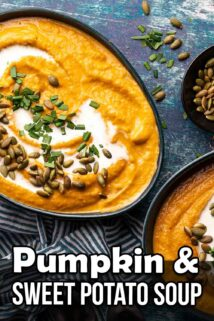 two bowls of pumpkin and sweet potato soup with text at the bottom