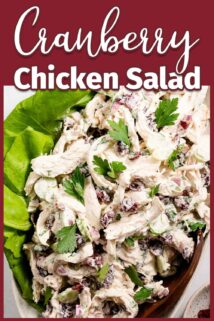 cranberry chicken salad on platter with lettuce garnish and text label