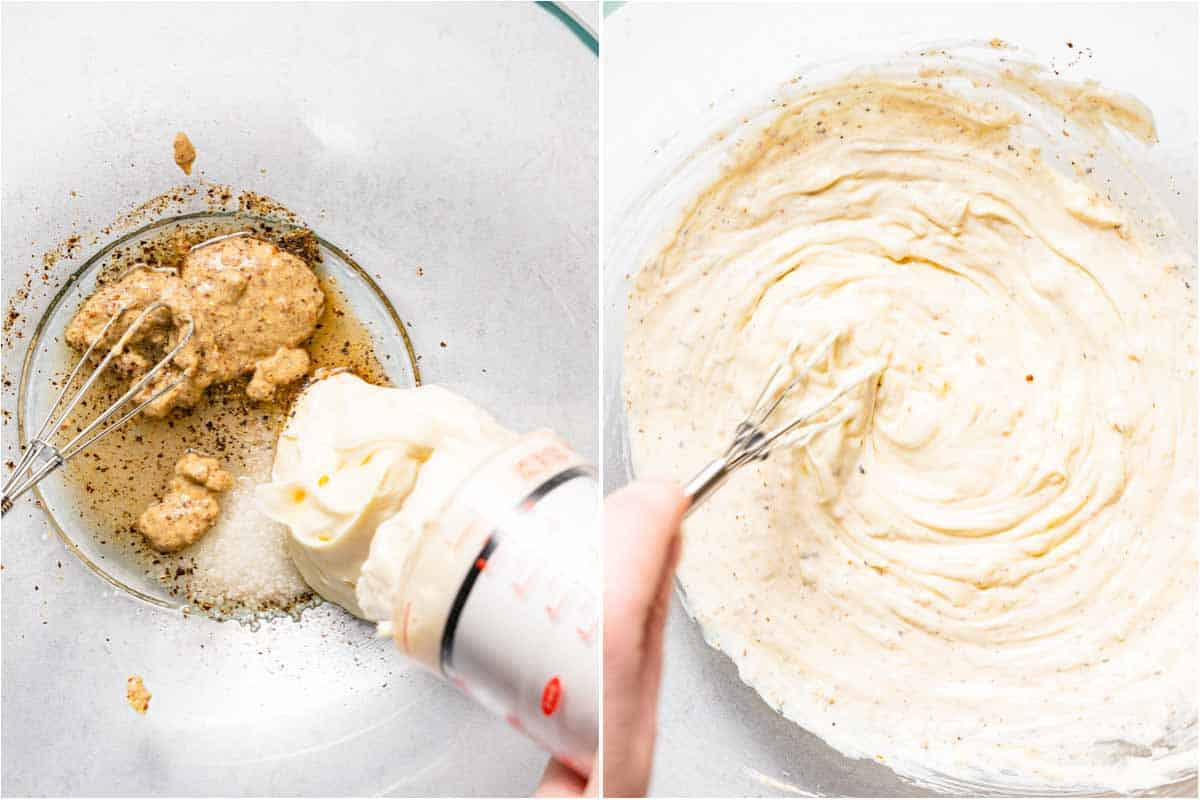 collage of mayo being added to dressing ingredients and whisking dressing