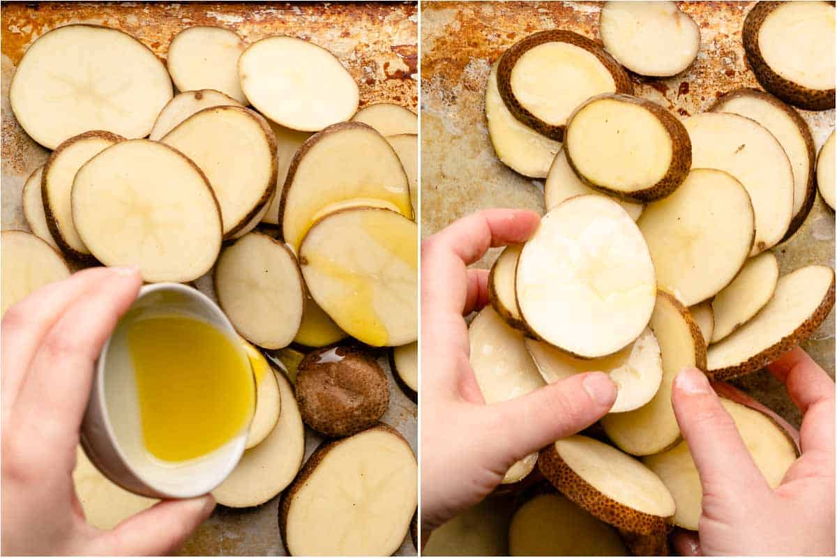 collage of oil being drizzled over sliced potatoes and hands tossing sliced potatoes with oil