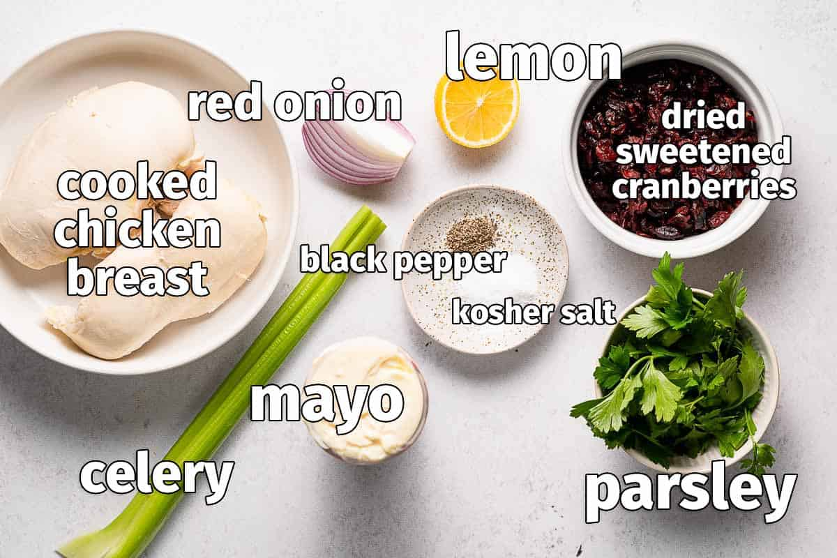 recipe ingredients for cranberry chicken salad with text labels