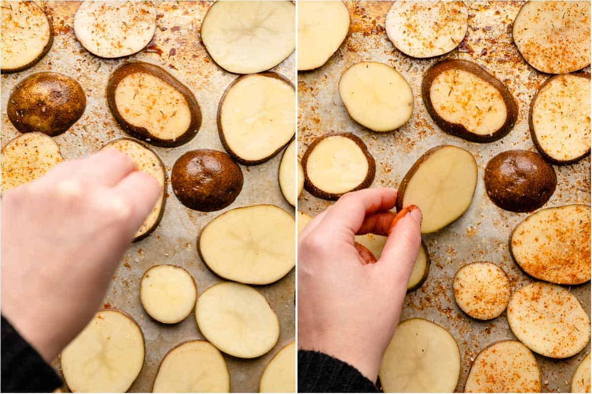 collage of potatoes being seasoned on baking pan and hand turning a seasoned potato over