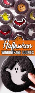 collage of Halloween windowpane cookies on cooling rack and ghost cookie with text in center