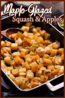 casserole dish of squash and apples with box of sea salt in the background with text at the top