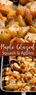 collage of close up view of maple butter glazed squash and apples on top and pan of squash and apples at bottom with text box in the center