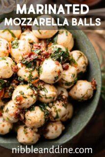 bowl of mozzarella balls with text label at top