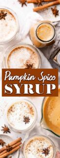 collage of pumpkin spice syrup in glass bottle and pumpkin spice lattes with text box in center