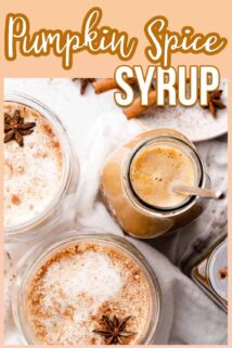 pumpkin spice syrup in glass bottle with two lattes on the side and text box at the top