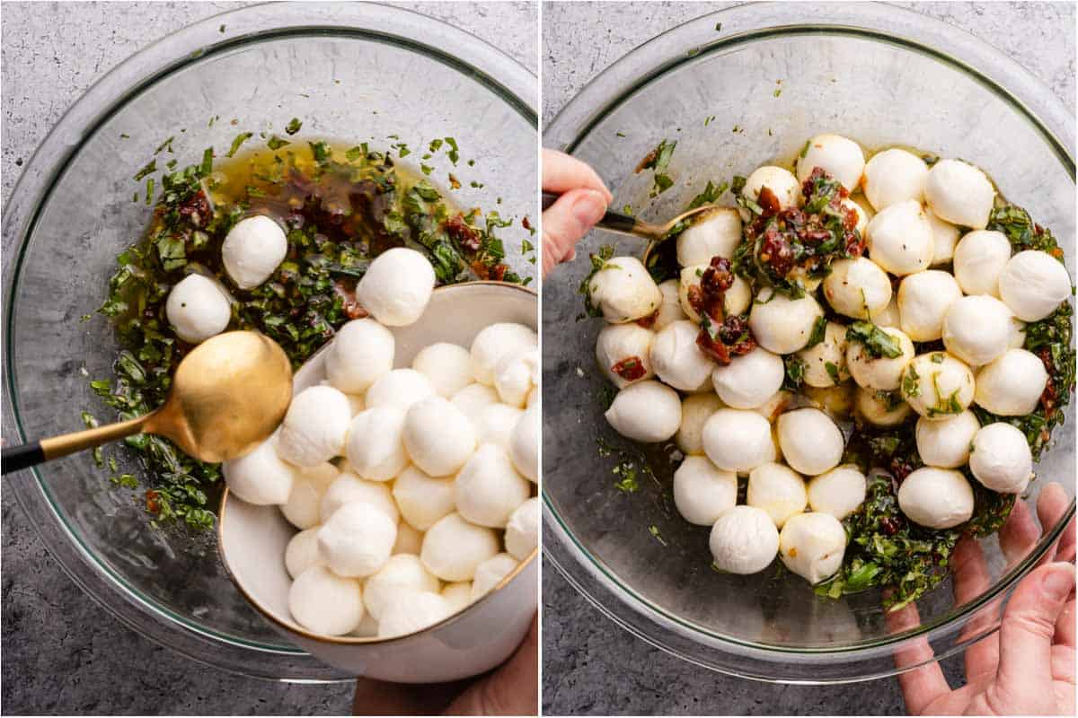 collage of adding mozzarella cheese balls to bowl of marinade and stirring cheese balls with marinade