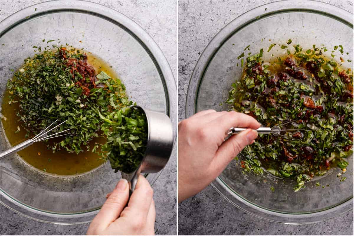 collage of adding herbs to marinade and whisking marinade with herbs