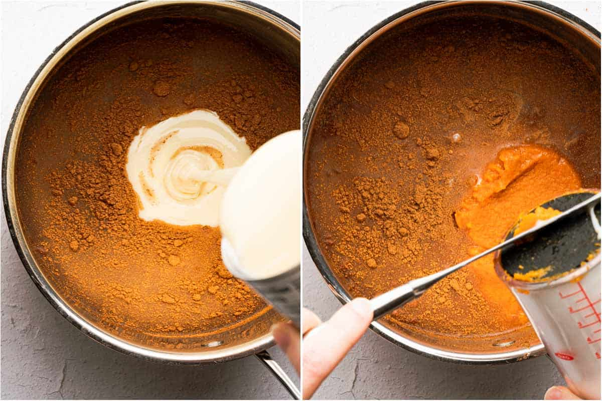 collage of sweetened condensed milk being poured into pan and adding pumpkin puree to pan