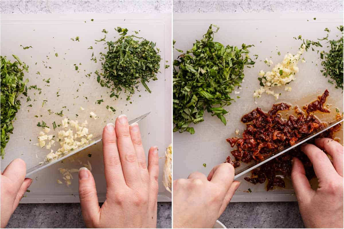 collage of chopping garlic and chopping sun dried tomatoes