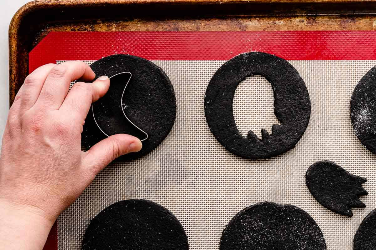 moon cookie cutter cutting center out of round cookie