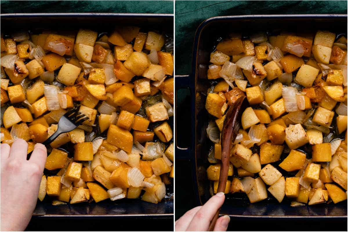 collage of fork spearing cooked piece of butternut squash and wooden spoon stirring cooked vegetables