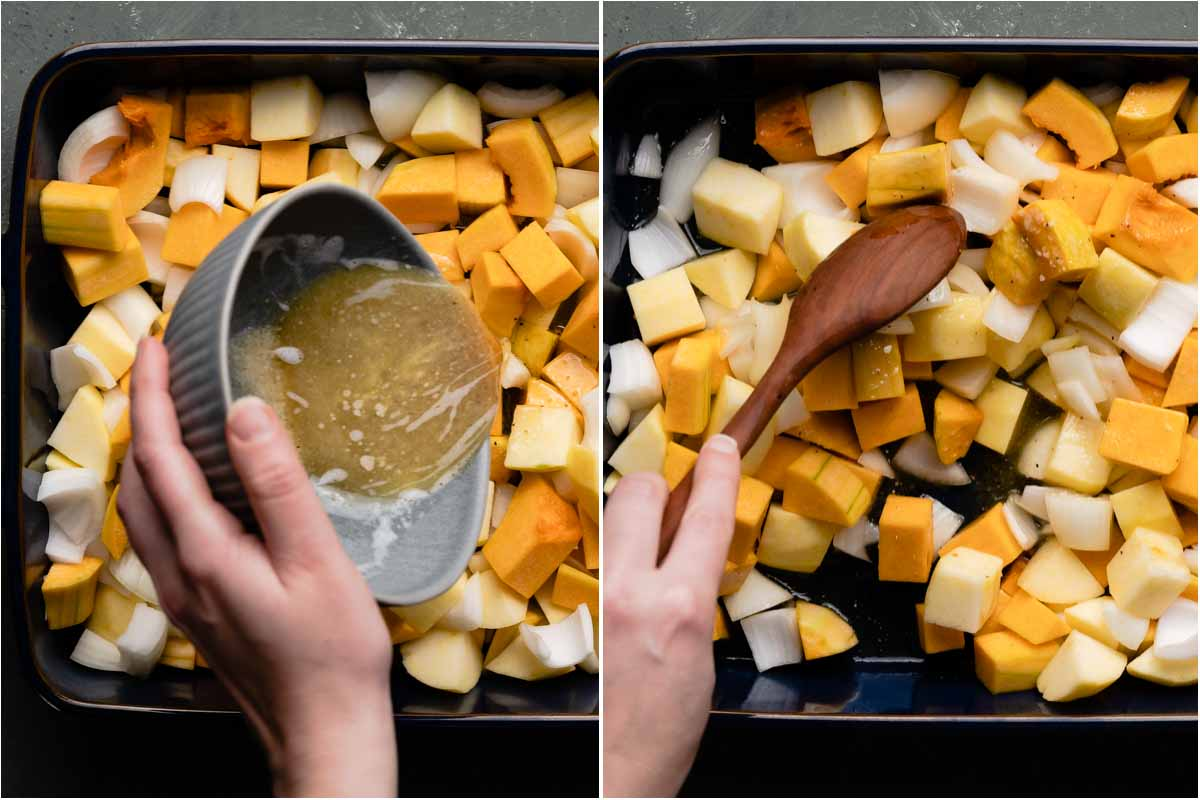 collage with hand holding small bowl with butter mixture being poured over veggies and stirring veggies with butter mixture