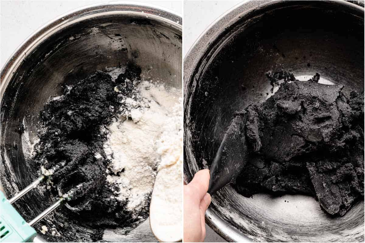 collage of flour being sprinkled into wet ingredients and finished dough in bowl