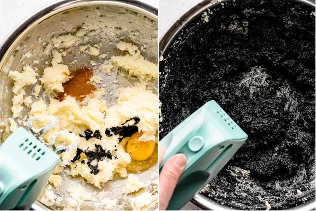 collage of egg vanilla and food coloring added to wet ingredients and dough mixed together with mixer