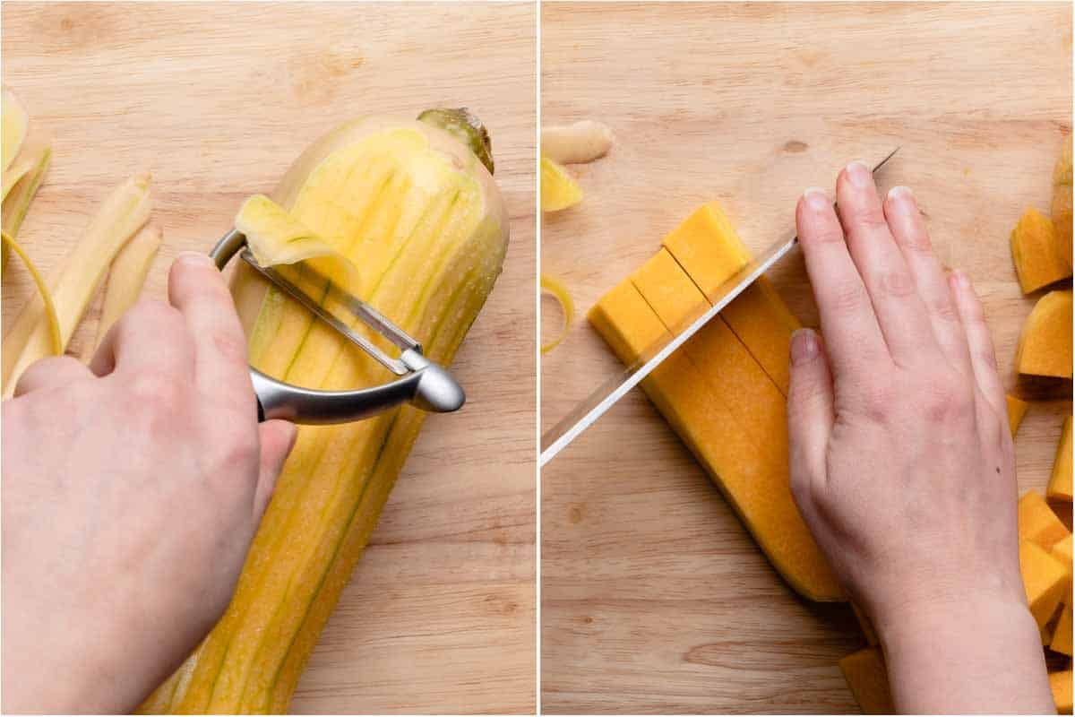 peeling butternut squash and cutting it into cubes