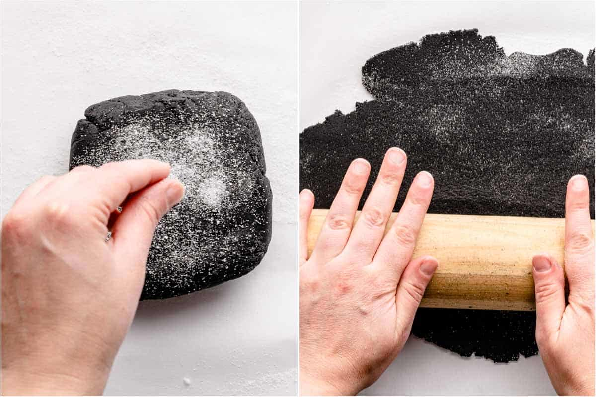 collage of sprinkling sugar on disc of dough and rolling out dough with rolling pin