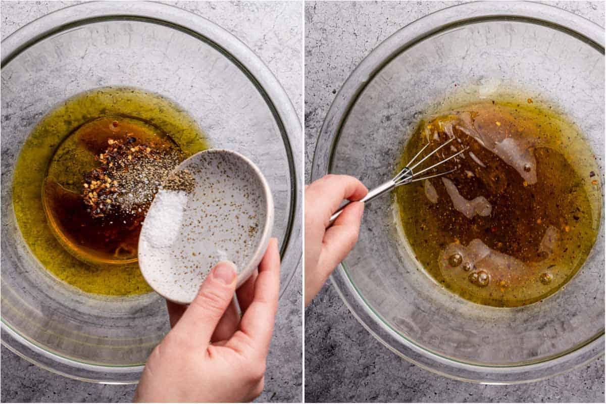 collage of adding spices to oil and vinegar and whisking dressing